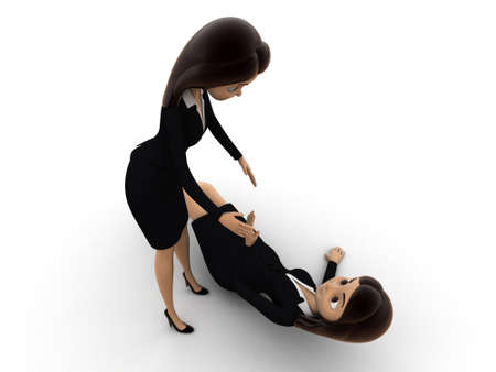 get up: 3d woman help another woman to get up concept on white background, top angle view