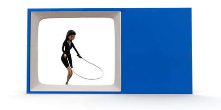 woman watching tv: 3d woman on tv skipping with rope concept on white background, front angle view Stock Photo