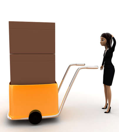handtruck: 3d woman delivery box on handtruck concept on white background, side angle view