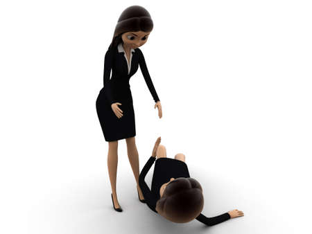 get up: 3d woman help another woman to get up concept on white background, front angle view Stock Photo