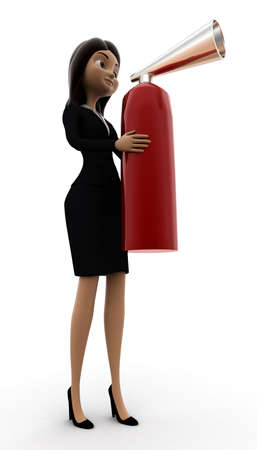 extinguish: 3d woman holding fire extinguish  concept on white background, side angle view Stock Photo