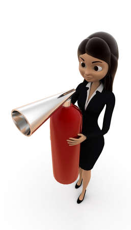 extinguish: 3d woman holding fire extinguish  concept on white background, top angle view