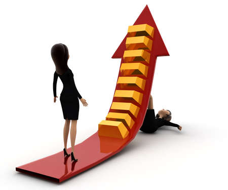 to go up: 3d woman support arrow so another can go up concept on white background, front angle view Stock Photo