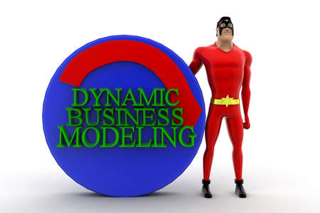 automate: 3d superhero presenting automate dynamic business modeling concept on white isolated background , front angle view