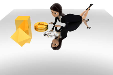solve: 3d woman find right piece to solve puzzle concept on white background, front angle view