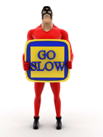 slow: superhero with go slow banner in hand on white background - 3d rendering, front angle view