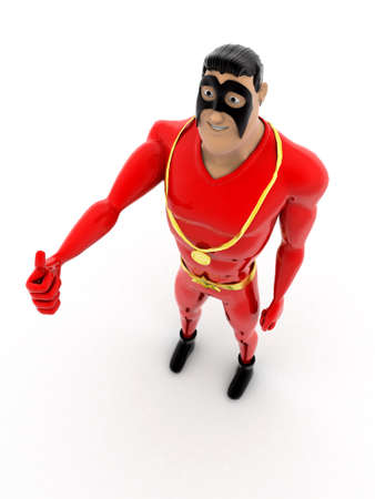top angle view: superhero with gold medal and raising hand concept on white background - 3d rendering, top angle view Foto de archivo