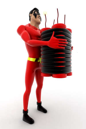 explosives: superhero standing with explosives concept on white background - 3d rendering, side angle view