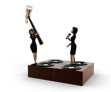 destroying: 3d woman destroy music speaker with big hammer concept on white background, front angle view