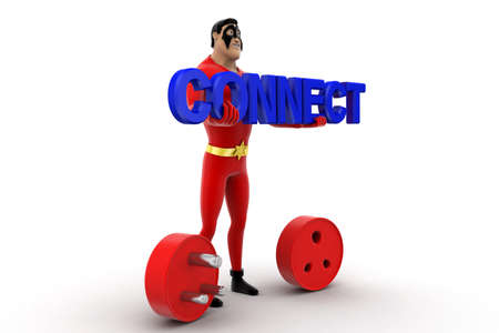 connection connections: superhero with connect text and plug pin concept on white background - 3d rendering, side angle view