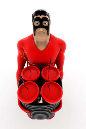 explosives: superhero standing with explosives concept on white background - 3d rendering, top angle view