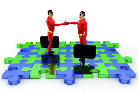 shaking: superhero shaking hand standing on puzzle shape concept on white background - 3d rendering, front angle view