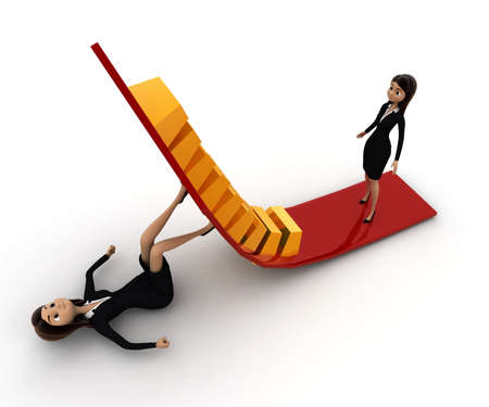 to go up: 3d woman support arrow so another can go up concept on white background, top angle view Stock Photo