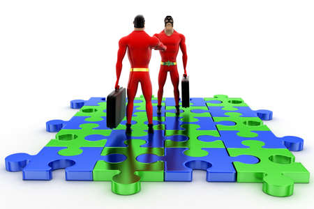 handshaking: superhero shaking hand standing on puzzle shape concept on white background - 3d rendering, side angle view