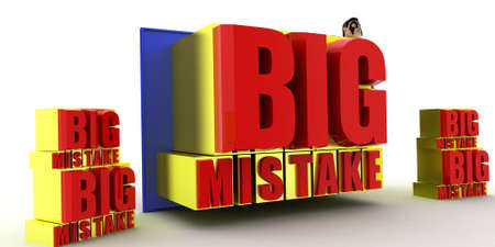 mistake: superhero with big mistake banner concept on white background - 3d rendering , side angle view Stock Photo