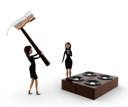 destroy: 3d woman destroy music speaker with big hammer concept on white background, side angle view
