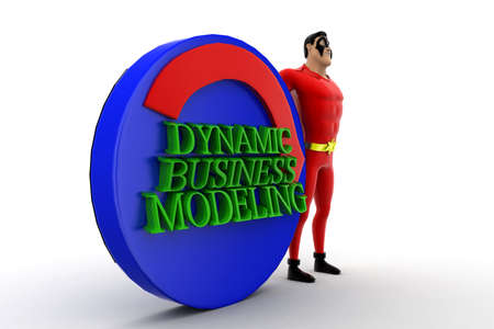 automate: 3d superhero presenting automate dynamic business modeling concept on white isolated background , side angle view Stock Photo