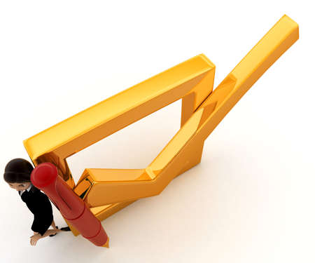 top angle view: 3d woman with big check mark and pen concept on white background, top angle view
