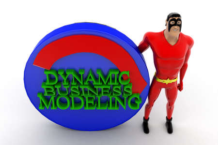automate: 3d superhero presenting automate dynamic business modeling concept on white isolated background ,top angle view Stock Photo