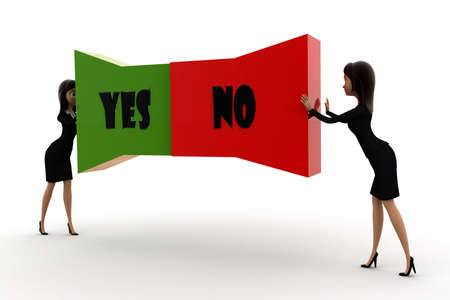 yes or no: woman pushing  yes no text from both direction concept  on white background - 3d rendering , front angle view