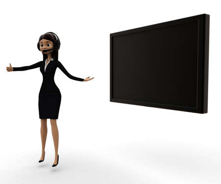 visual screen: woman presenting visual screen concept on white background - 3d rendering , side angle view