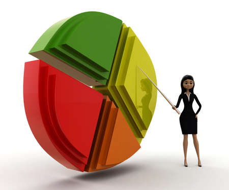 statics: woman presenting per chart  concept on white background - 3d rendering , side angle view