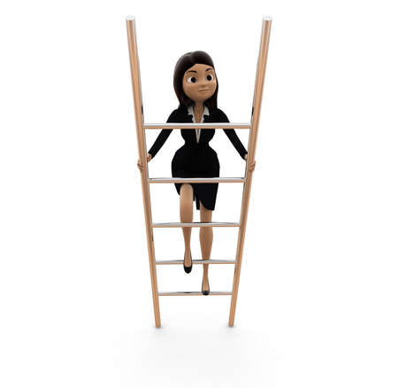 climbing ladder: woman climbing ladder concept on white background - 3d rendering , front angle view
