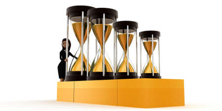 time machine: women holding time machine concept on white background - 3d rendering , side angle view