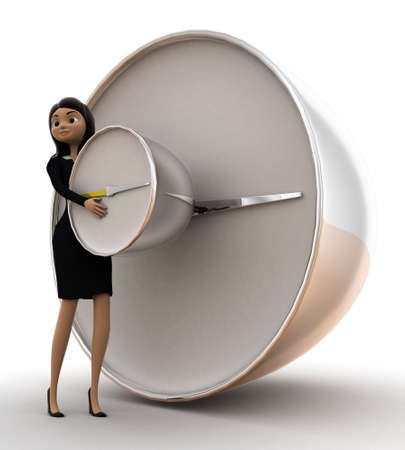 lady clock: woman holding alarm clock concept on white background - 3d rendering , side angle view