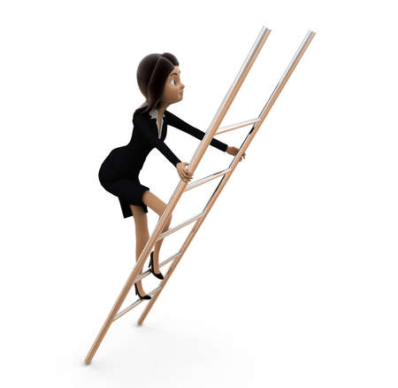climbing ladder: woman climbing ladder concept on white background - 3d rendering ,  side angle view