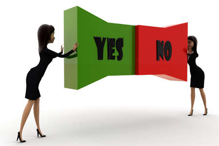 both: woman pushing  yes no text from both direction concept  on white background - 3d rendering , side angle view