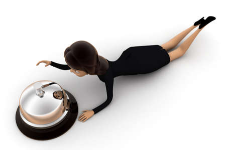 laying: woman laying down with calling bell concept on white background - 3d rendering , top angle view