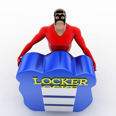 locker: superhero presenting cloud locker concept on white background - 3d rendering , top angle view