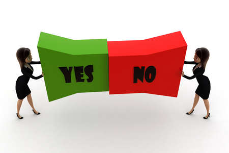 both: woman pushing  yes no text from both direction concept  on white background - 3d rendering , top angle view Stock Photo