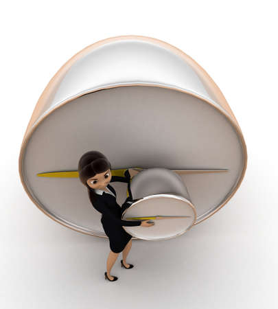 lady clock: woman holding alarm clock concept on white background - 3d rendering , top angle view