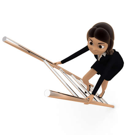 climbing ladder: woman climbing ladder concept on white background - 3d rendering , top angle view