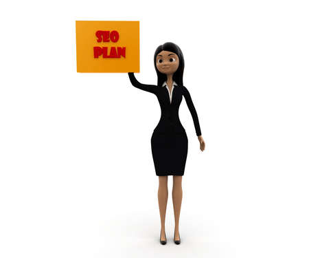 clicking: woman clicking  SEO plan box concept on white background - 3d rendering , front angle view Stock Photo