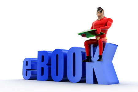 e book: superhero with e book text concept on white background- 3d rendering , side angle view Stock Photo