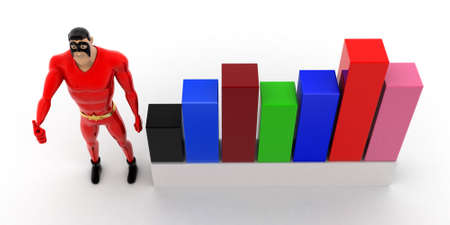 statics: superhero with progress charts concept on white background- 3d rendering , top angle view Stock Photo