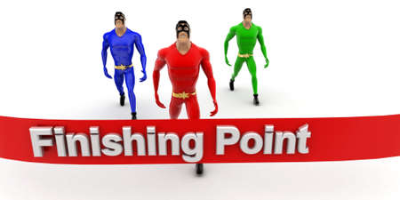 superheros: superheros nearing to finishing point line concept on white background- 3d rendering , front angle view Stock Photo