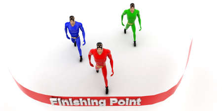 superheros: superheros nearing to finishing point line concept on white background- 3d rendering , top angle view Stock Photo