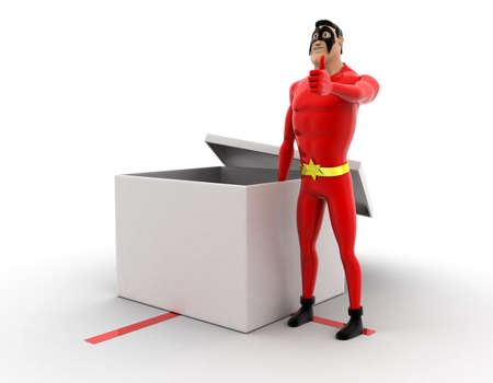 presenting: superhero presenting a open gift box concept on white background- 3d rendering , side angle view