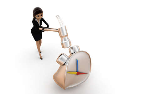crushing: women crushing clock  time piece concept on white isolated background -3d rendering , top angle view Stock Photo