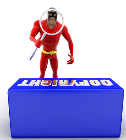 observing: superhero observing copyright text with magnifying glass concept on white background- 3d rendering , front angle view