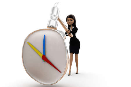 crushing: women crushing clock  time piece concept on white isolated background -3d rendering , front angle view Stock Photo