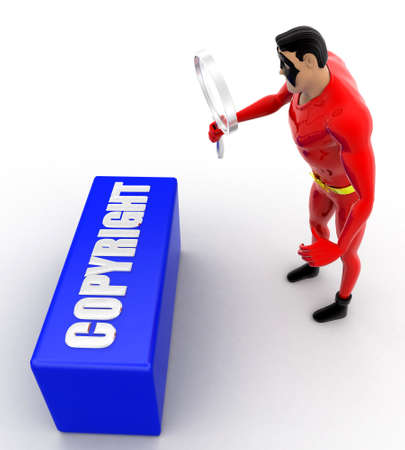 observing: superhero observing copyright text with magnifying glass concept on white background- 3d rendering , top angle view