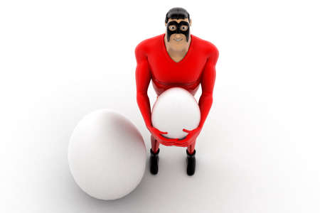 top angle view: superhero holding egg concept on white background- 3d rendering , top angle view