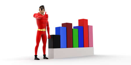 statics: superhero with progress charts concept on white background- 3d rendering , side angle view