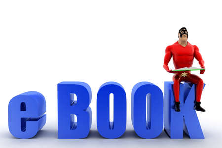 e book: superhero with e book text concept on white background- 3d rendering , front angle view Stock Photo