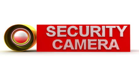 security camera: security camera concept in  white background - 3d rendering , front angle view Stock Photo